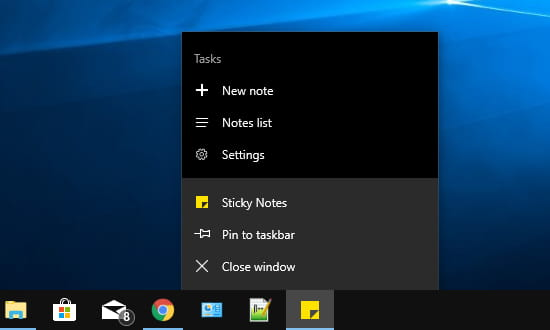 Menu for the Sticky Notes menu on the Windows desktop