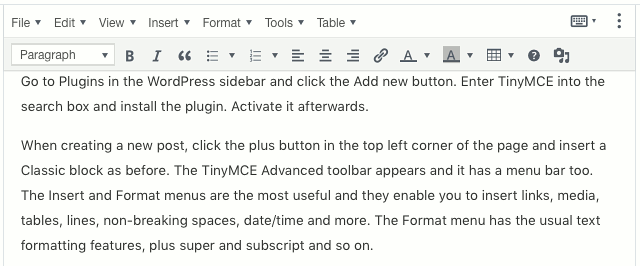 A TinyMCE block in the Gutenberg WordPress post editor