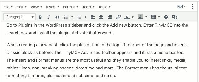 A TinyMCE block in the Gutenberg WordPress post editor
