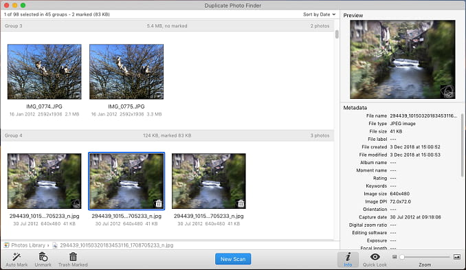 Duplicate Photo Finder app running on the Apple Mac