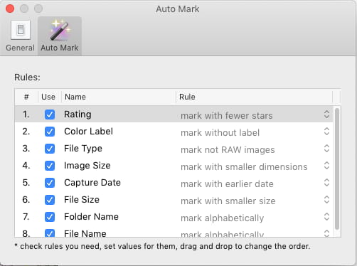 Duplicate Photo Finder app for macOS rules for selecting duplicate images