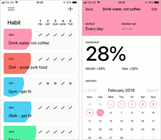 Habit - Daily Tracker app for the iPhone