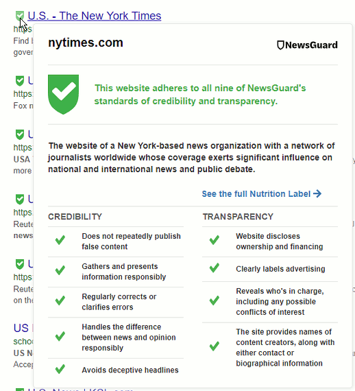 NewsGuard Chrome Extension showing information on a news website in search results