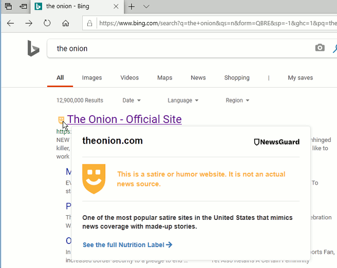 NewsGuard Edge extension showing information in search results from Bing