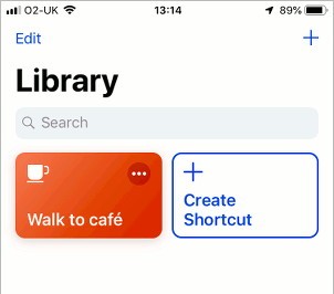 Apple Shortcuts app on the iPhone showing the library