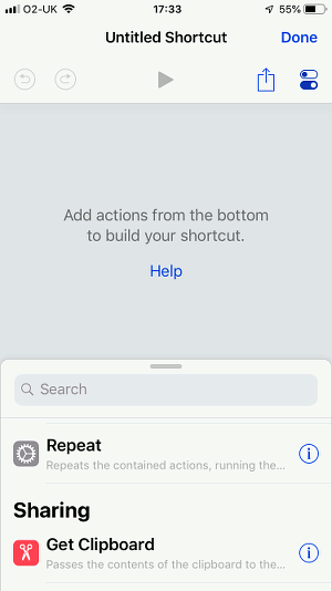 Apple Shortcuts app on the iPhone creating a shortcut