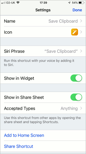 Configuring a shortcut using the Shortcut app on the Apple iPhone
