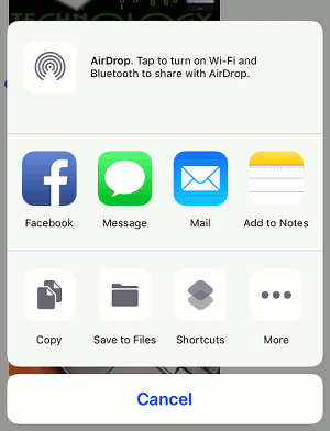 The Actions panel in Safari browser on the iPhone