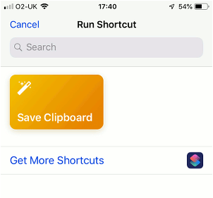 Running a shortcut on the iPhone