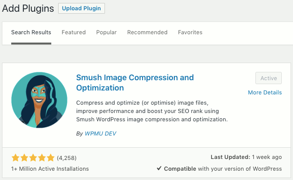 Smush WordPress plugin optimizes images and shrinks the file size