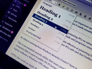Set the heading style in a WordPress post on a computer screen