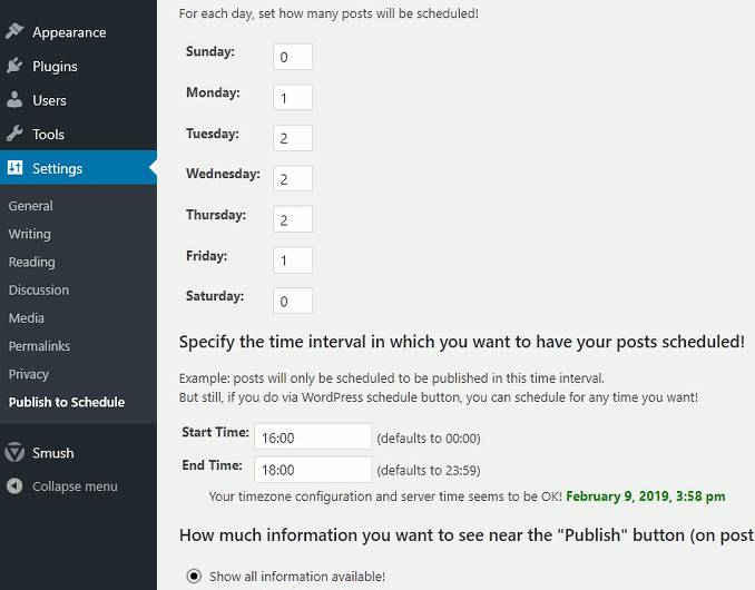 Configure the WordPress Publish to Schedule plugin settings screenshot