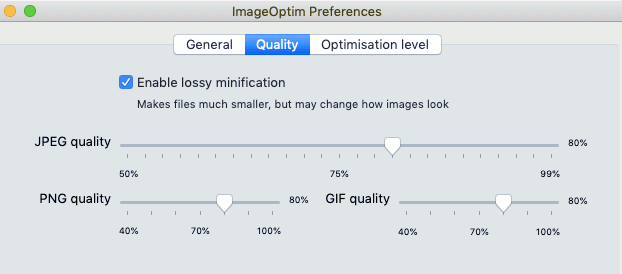 ImageOptim utility for Apple Mac compresses images and shrinks the file size