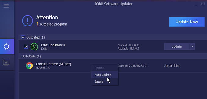 IObit Software Updater for Windows PC shows which applications need updating