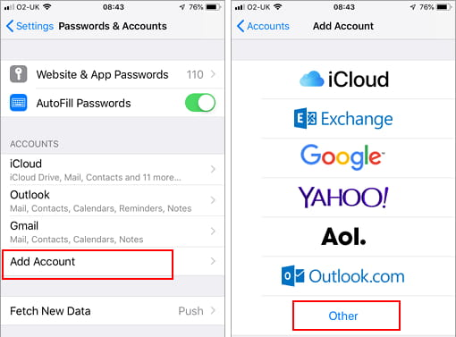 Add a new email account to the Mail app on the iPhone
