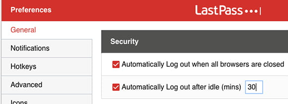 LastPass timeout settings to automatically log out of the password manager