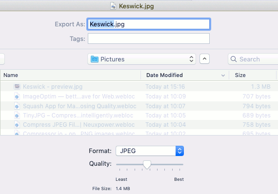 Optimize images in Apple Preview by setting the output quality