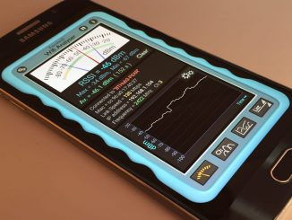 Android phone with Wifi Analyzer app on the screen