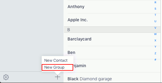 Contacts app contact groups on iCloud