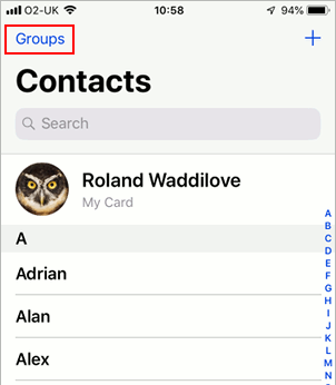 Groups of contacts in the iOS Contacts app