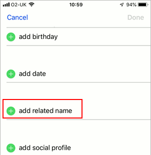 Add a related contact in iPhone Contacts