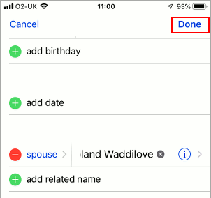 Add a related contact in the iPhone Contacts app