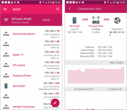 NetX Android app shows devices in the Wi-Fi network