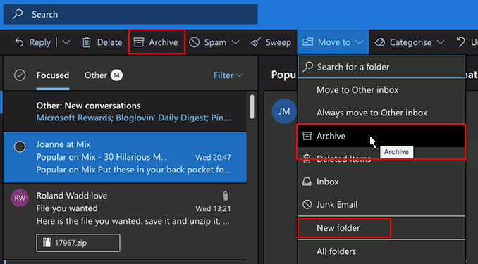 Archive email messages in Outlook in a web browser