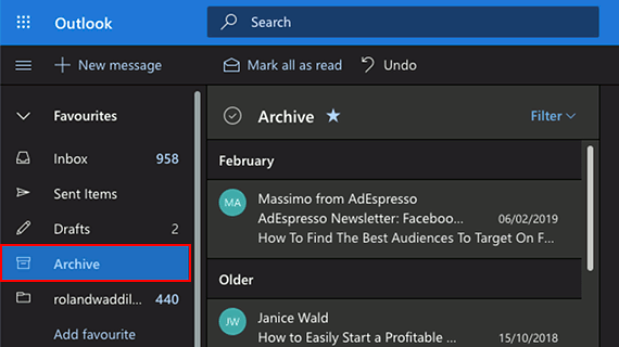 View archived emails in Outlook in a browser