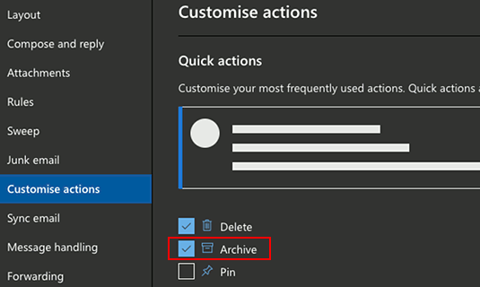 Customize the email actions in Outlook in a browser