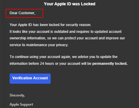 An example of a phishing email pretending to be from Apple