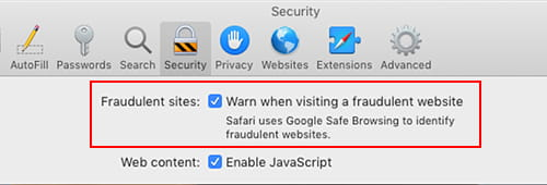 Safari preferences on the Apple Mac - security options