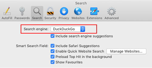 Set the search engine to DuckDuckGo in Safari preferences on the Apple Mac