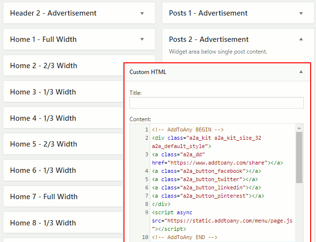 Past HTML code into an HTML widget in WordPress
