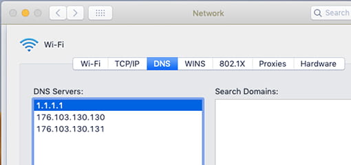 Add DNS servers to macOS network settings