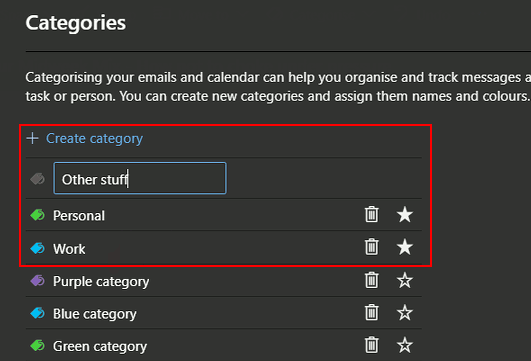 Create categories for email at the outlook.com website