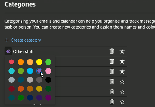 Choose a colour for an email category at the outlook.com website