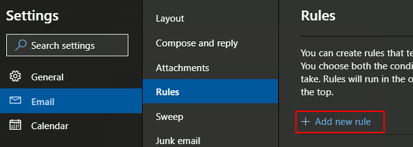 Create an email rule at the outlook.com website