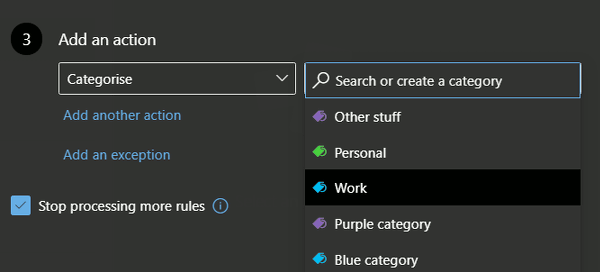Choose the action for an email rule at the outlook.com website
