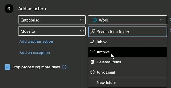 Select an action for an email rule at the outlook.com website