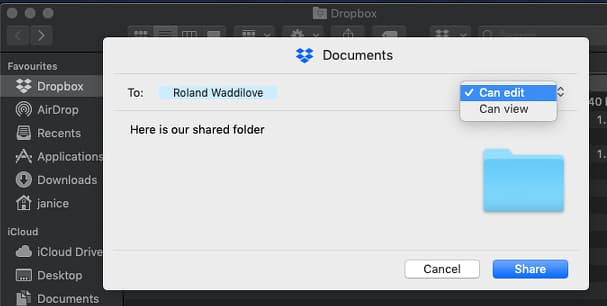 Invite someone to share a Dropbox folder on the Apple Mac