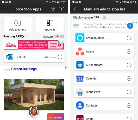 Force Stop Apps for Android phones stops apps running in the background