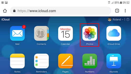 The iCloud website in Chrome on an Android phone