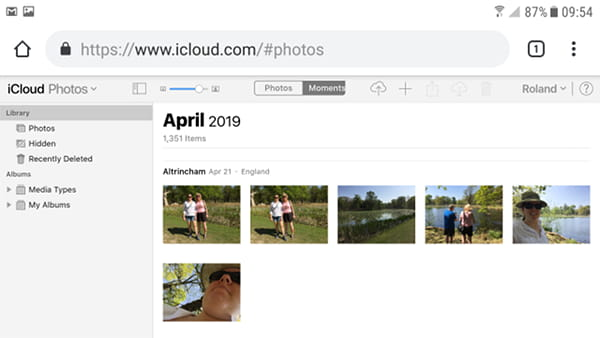 iCloud Photos app in Chrome on an Android phone