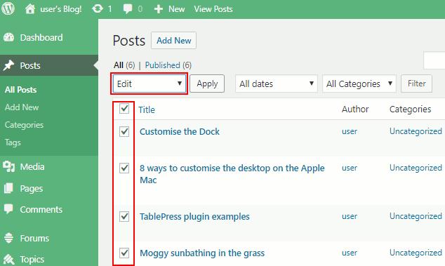 Bulk edit WordPress posts on the Posts admin page