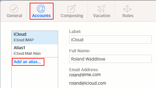 Create an iCloud email alias at the iCloud website