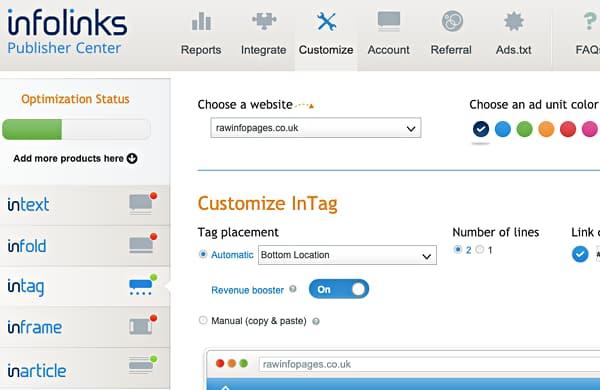 Customising website ads using Infolinks