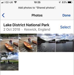 Add photos to a photo album on the iPhone