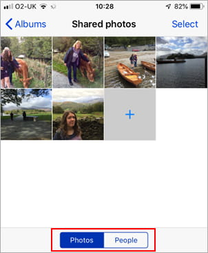 A shared photo album on the iPhone
