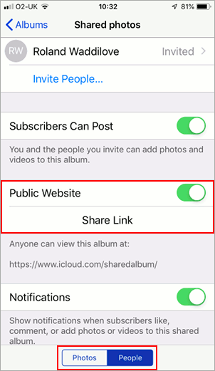 Make a shared photo album public on the iPhone